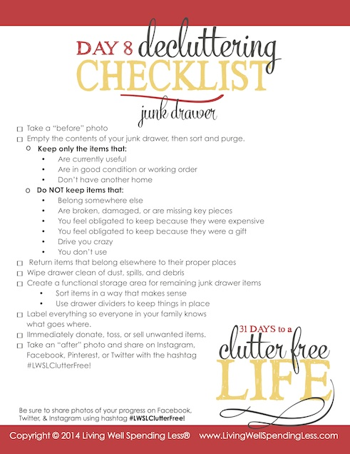 Days to a Clutter Free Life Challenge | Printable Ground Rules | Clutter Free | Home Management | Junk Drawer