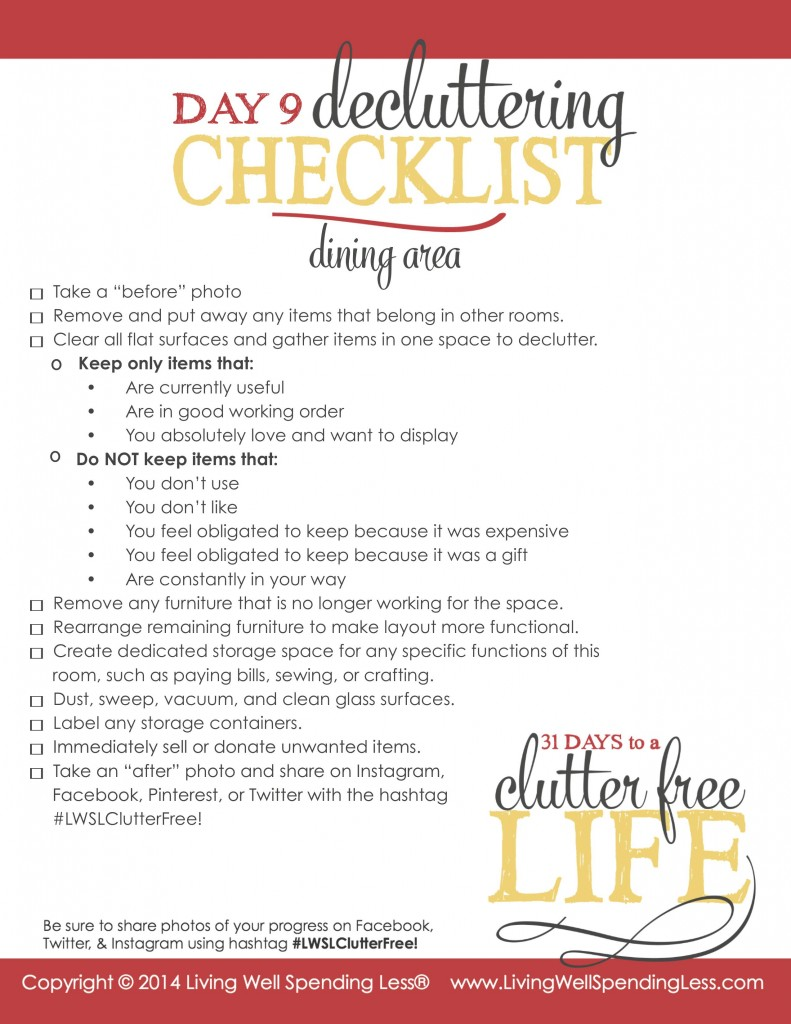Days to a Clutter Free Life Challenge | Printable Ground Rules | Clutter Free | Home Management | Dining Area |