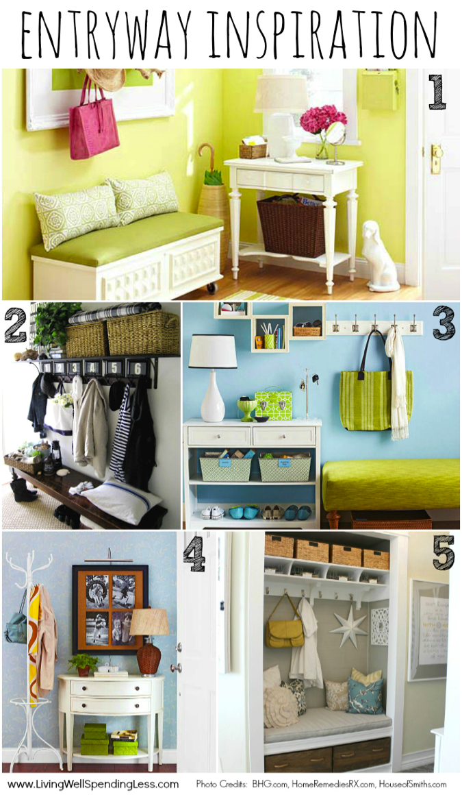 The entryway inspiration board is organized and decorated cute.