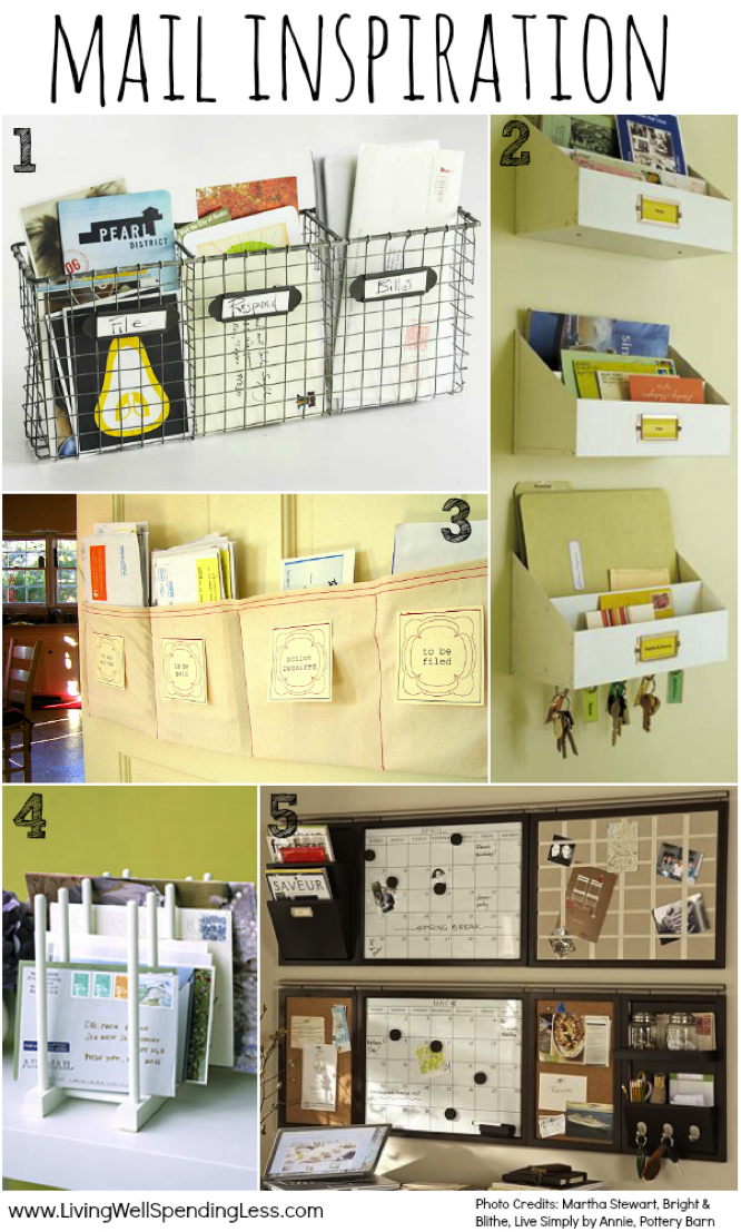 This organized mail is a great example of decluttering.