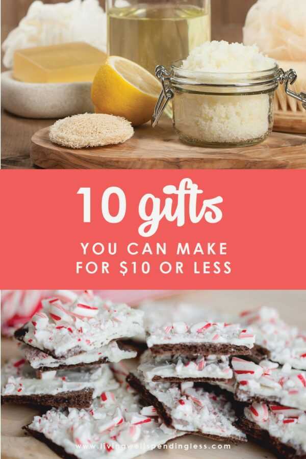 Does your gift list exceed your budget this year? No worries--we have got you covered. Don't miss these 10 super easy (really!) gifts you can make for $10 or less! #diy #homemade #diygifts #holidays #thrifty #handmade #frugalgifts #budgetfriendlygifts #handmadegifts #cheapgifts
