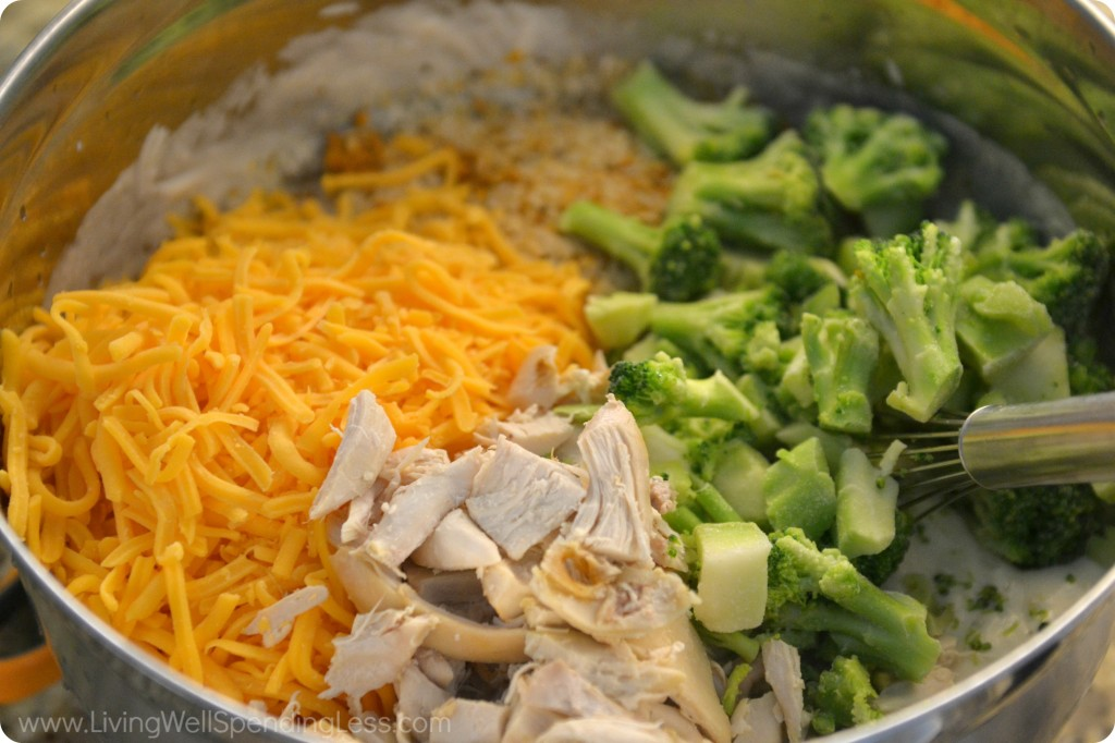 Fold in the cheese, chicken and broccoli--the super stars of this delicious casserole.