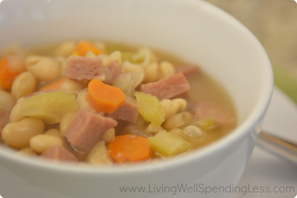 This easy ham and bean soup is freezer friendly and oh-so-satisfying!