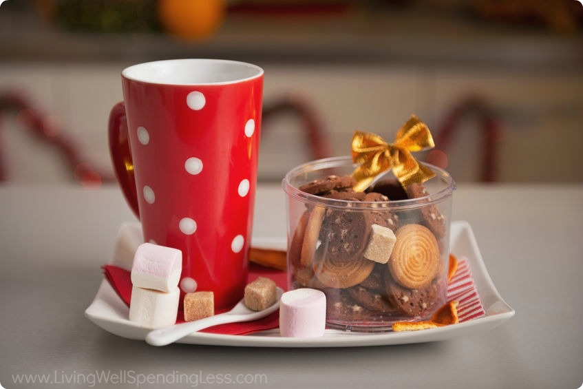 Sweet treats and a mug for hot cocoa make great Christmas gifts.