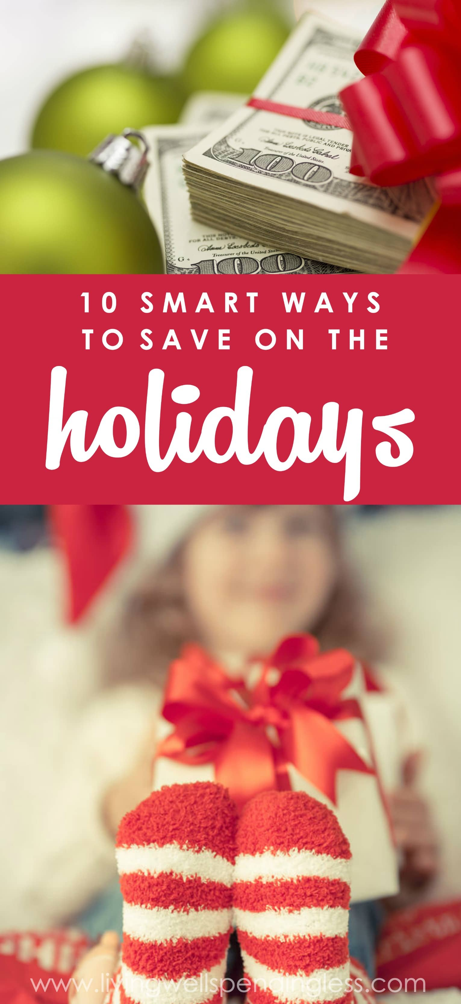 While it might feel overwhelming, or even a little bit impossible, there ARE easy, practical and--dare we say it--almost painless ways to save during the holidays.  Don't miss these ten smart ways to cut your holiday spending and start your New Year with your finances intact! Ways to Save on the Holidays | Save Money This Holiday Season | Holiday Saving Tips | Holiday Savings Advice | Holiday Shopping Tips