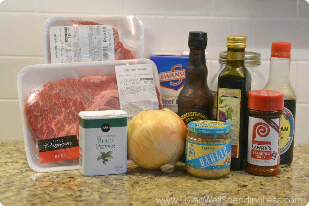 Assemble your ingredients: Beef, black pepper, onion, garlic, Lawry's seasoned salt, honey, balsamic vinegar, beef broth, Worcestershire sauce, and soy sauce.