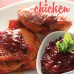 This deceptively easy dish makes everyday feel like a holiday! Moist, juicy, and full of flavor, this simple cranberry chicken whips up in minutes with just a few basic ingredients, and is freezer and crockpot friendly too! #recipes #chickenrecipes #cranberryrecipes #cranberrychicken #holidayrecipes #freezerrecipes #crockpotrecipes #slowcookerrecipes