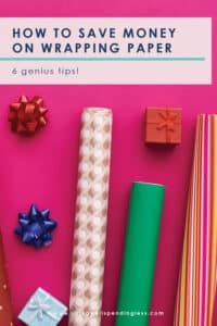 While we often set a budget for the gifts that we buy, we don't always consider the cost of the wrapping! Even so, a beautifully wrapped gift is more fun to give....and receive. Don't miss these 6 smart and creative ways to save on gift wrapping this year! #savemoney #moneysavingtips #holiday #holidaybudget #holidaytips #frugal #frugalholidays