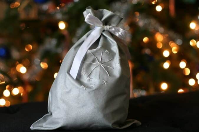 Make your own fabric gift bag from The Frugal Girl Blog.