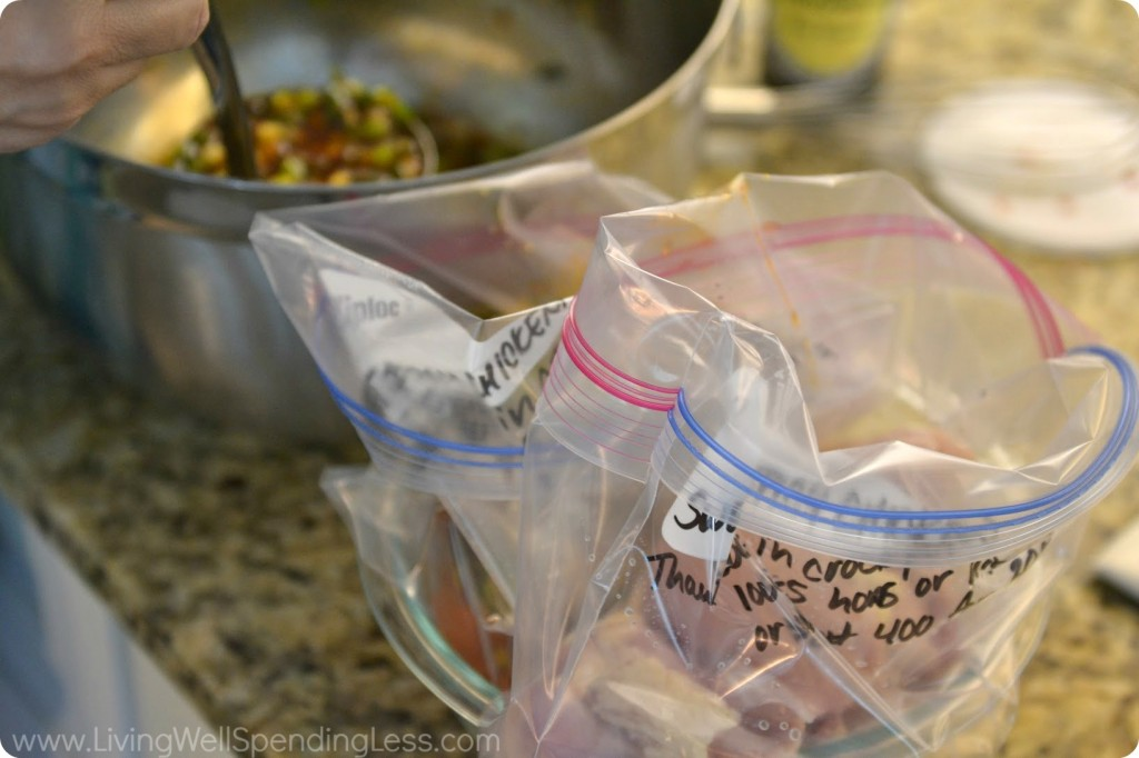 Divide chicken into two gallon labeled freezer bags.