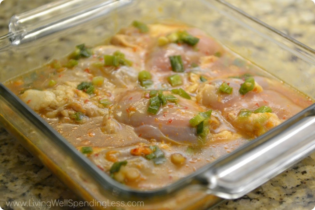 Place chicken in casserole dish and bake.