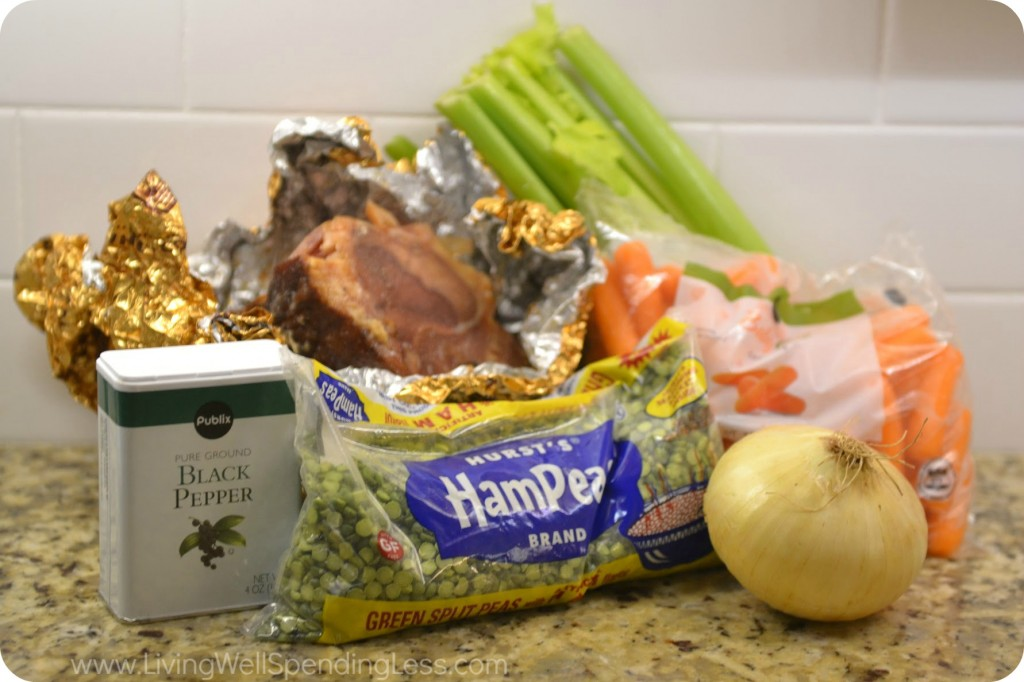 Assemble your ingredients: Black pepper, bag of green split peas, onion, ham bone, carrots and celery.