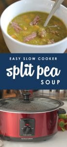 It seriously doesn't get any easier than this delicious and hearty Slow-Cooked Split Pea Soup! It comes together in less than five minutes using just a handful of easy ingredients, then simmers all day in the crockpot for a family-pleasing meal that's ready when you are.