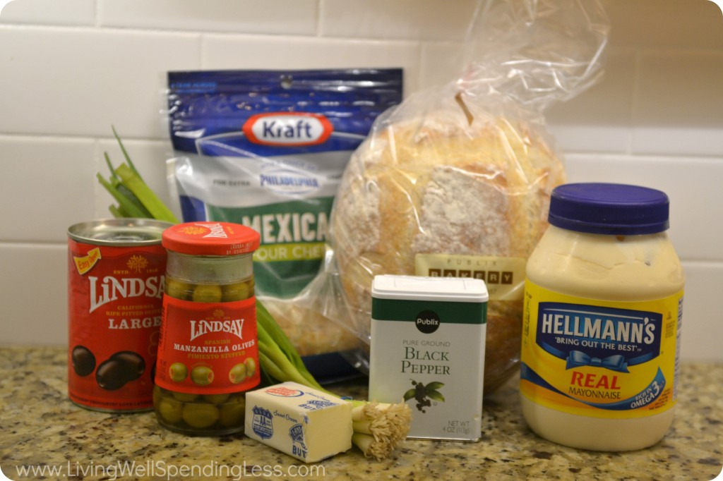 Ingredients for bloomin olive bread