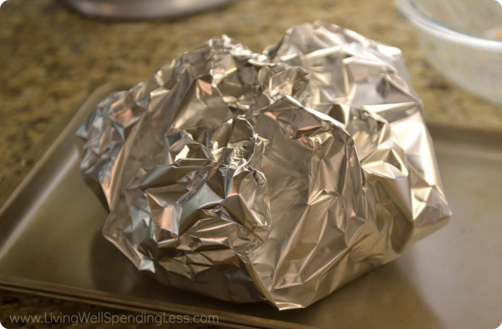 Wrap bread in tin foil and bake