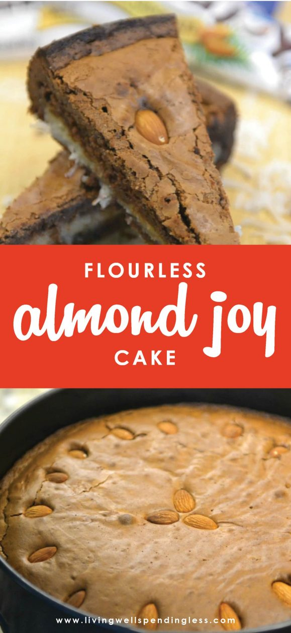 Craving chocolate? The decadent flavors in this rich, dense Flourless Almond Joy Cake will satisfy even the biggest sweet tooth. No one will even believe it's gluten free!
