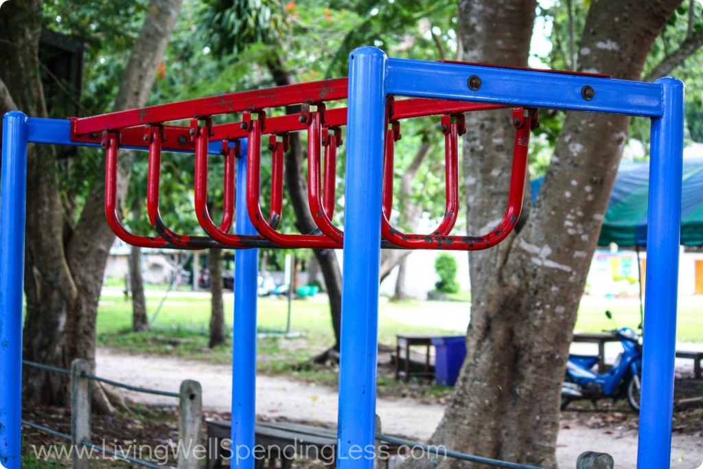 The bravery of of a five-year-old tackling the monkey bars