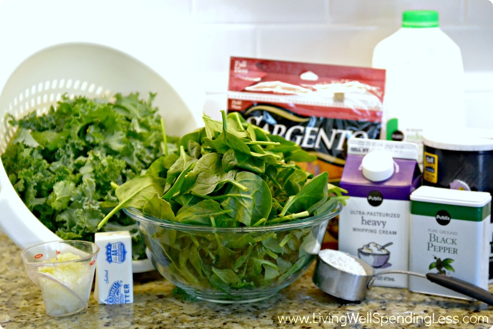 Assemble your ingredients: Kale, spinach, heavy cream, cheese, butter and seasonings.