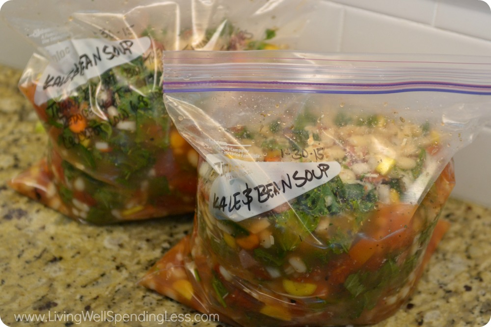 Add the ingredients for this delicious kale and white bean soup to labeled freezer bags.