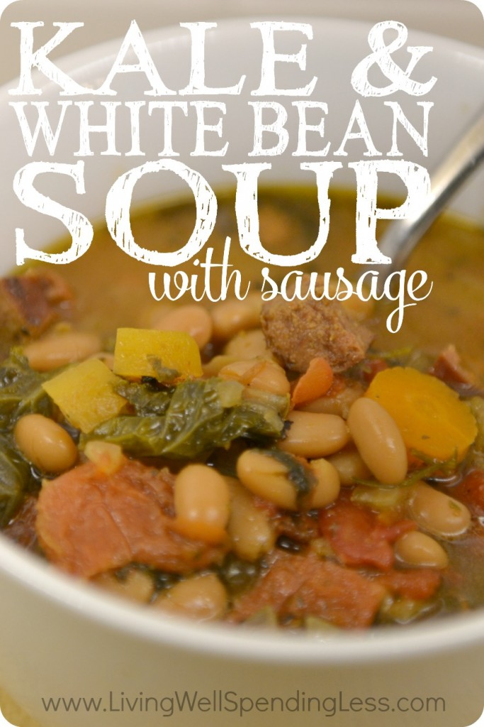 Kale and White Bean Soup with Sausage, an easy freezer recipe.