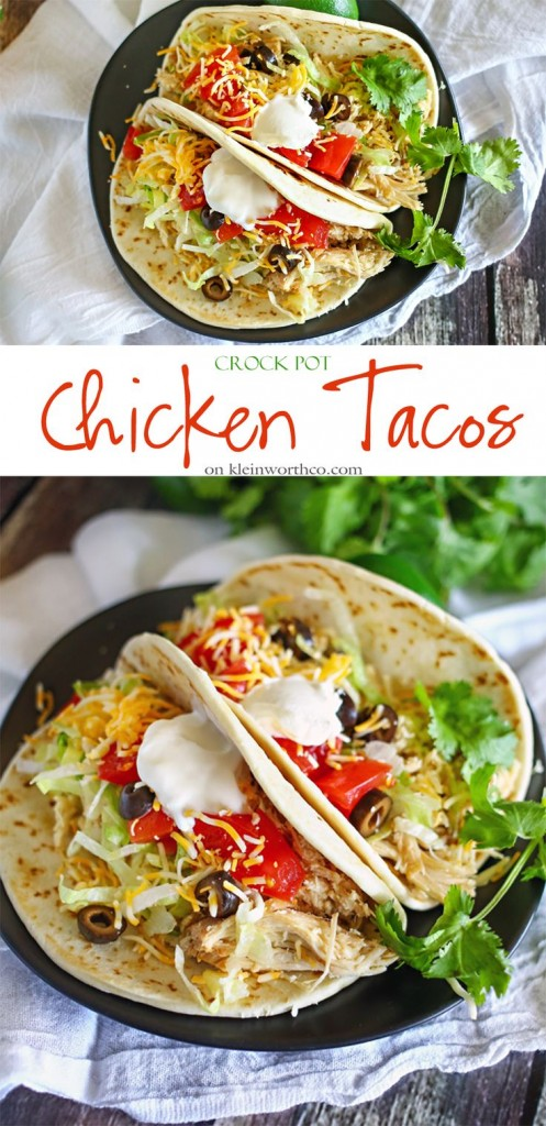 These chicken tacos with fresh cheese and sour cream are delicious.
