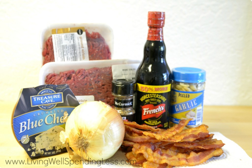 Easy Freezer Bacon & Blue Cheese Burgers ingredients