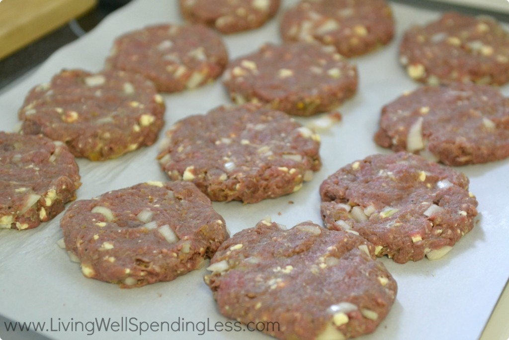 Form ground beef mixture into patties and place on parchment paper.