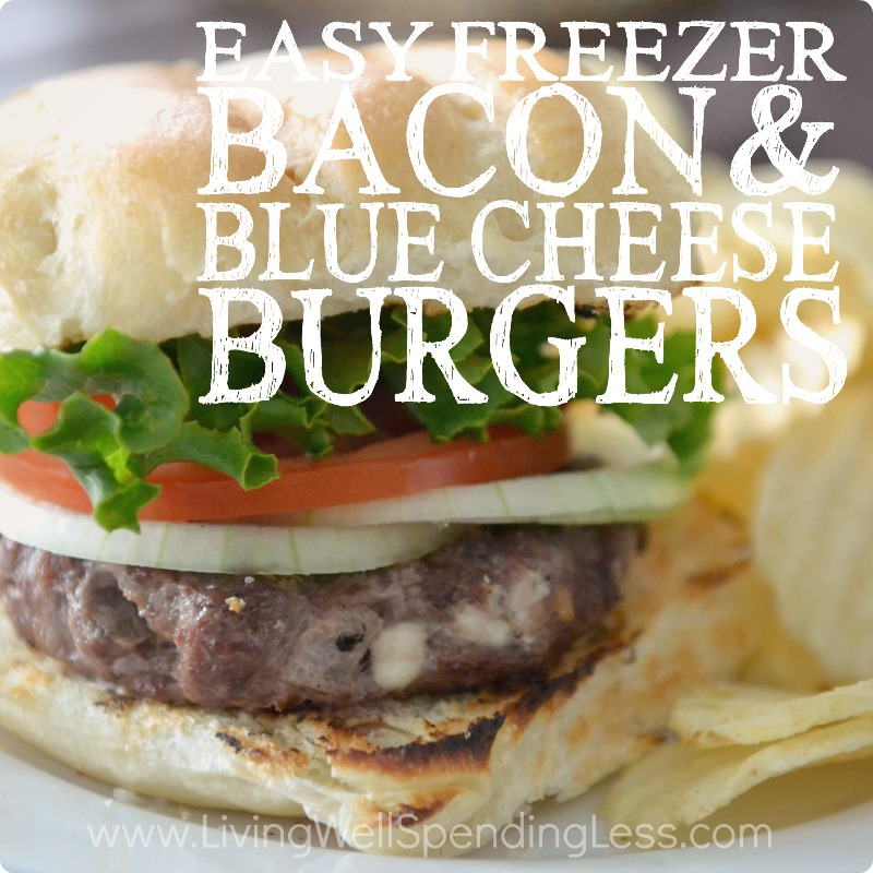 Easy Freezer Bacon & Blue Cheese Burgers | 10 Meals in an Hour | Freezer Cooking | Freezer Meals | Main Course Meat | Burger Recipes