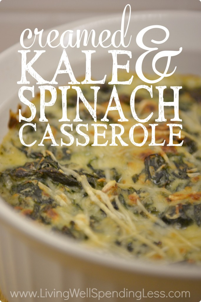 Creamed Kale & Spinach Casserole a great meatless recipe option for your next holiday table.