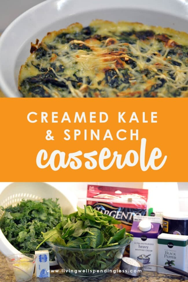Need more veggies? This easy-to-make, amazingly delicious creamed kale and spinach casserole combines two leafy greens into one decadent dish.