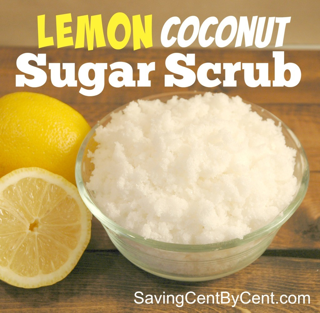 This DIY lemon coconut sugar scrub is easy to make.