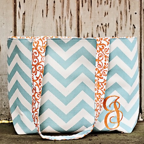 This monogram tote bag is personalized and fun.