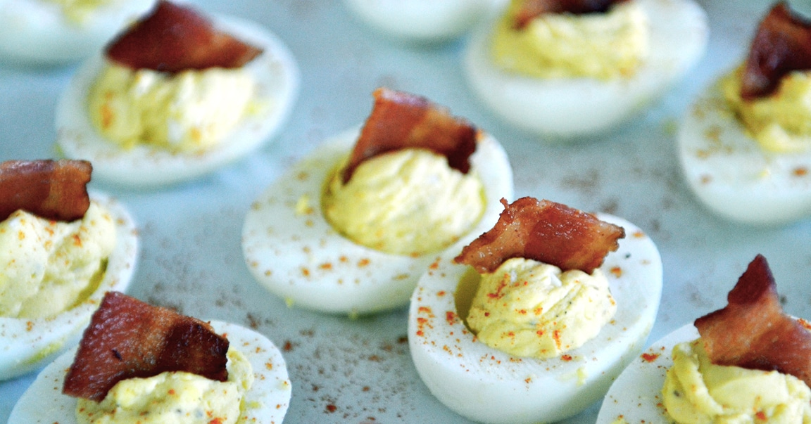 Best ever deviled eggs with bacon-Throwing a party? These 12 make ahead appetizers can be made in advance or thrown in the crockpot on the day of your party and are sure to wow your guests!