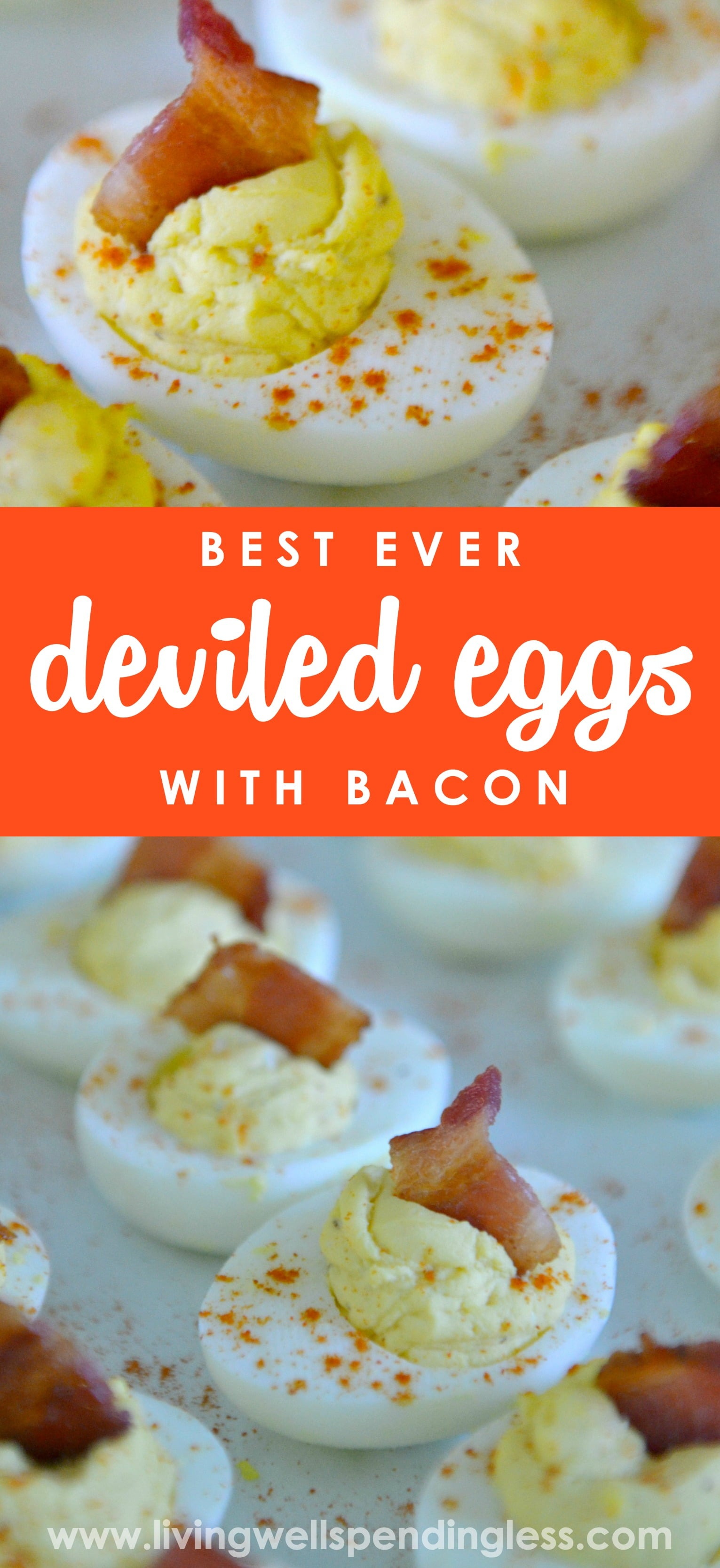 Want to know the secret to making the world's best deviled eggs? Don't miss this super simple, easy-to-follow recipe for perfect deviled eggs with BACON. (Mmmmm.....bacon!)
