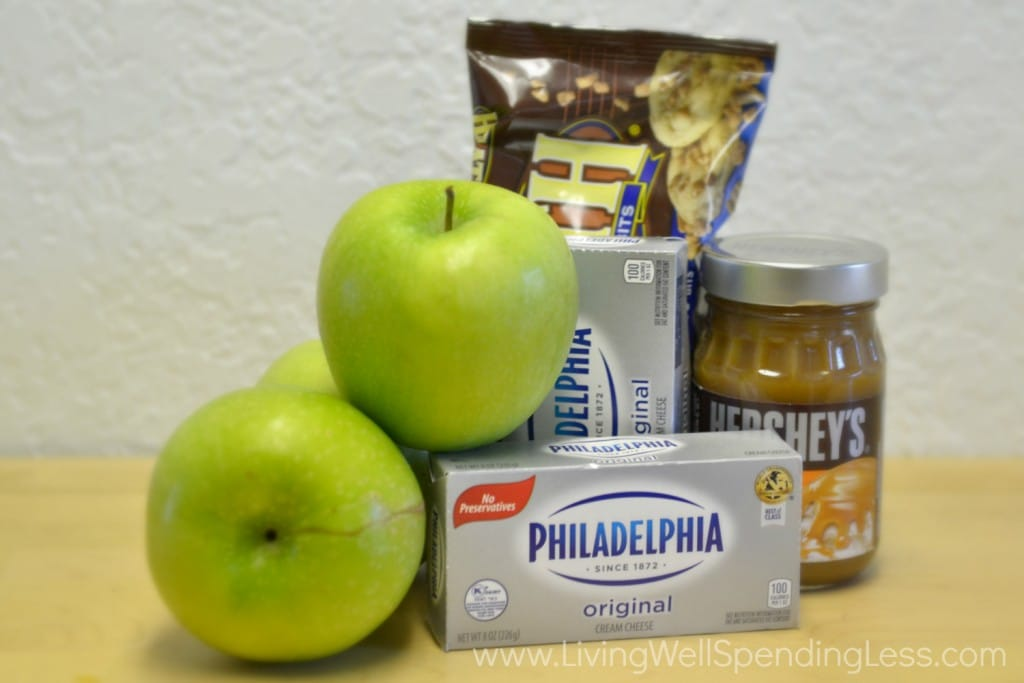 All the ingredients you need to make this yummy, addictive caramel apple cream cheese dip.