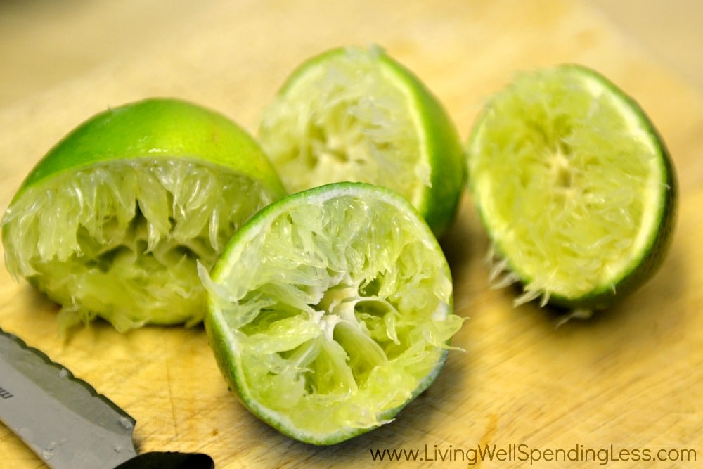 Squeeze the juice of two limes