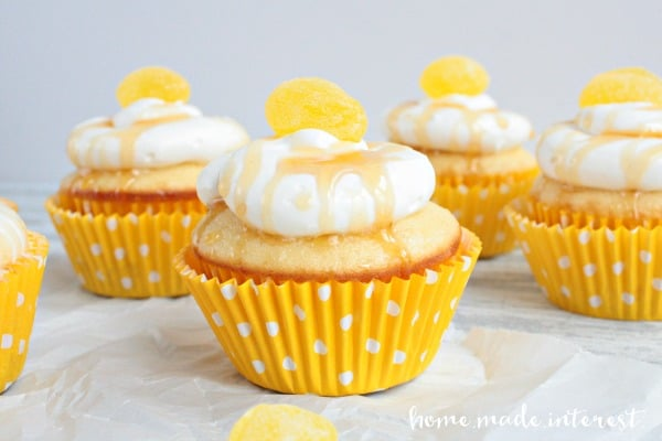 These honey lemon cupcakes are moist and bright.