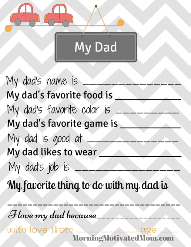 Use this printable for your kids to talk about dad.