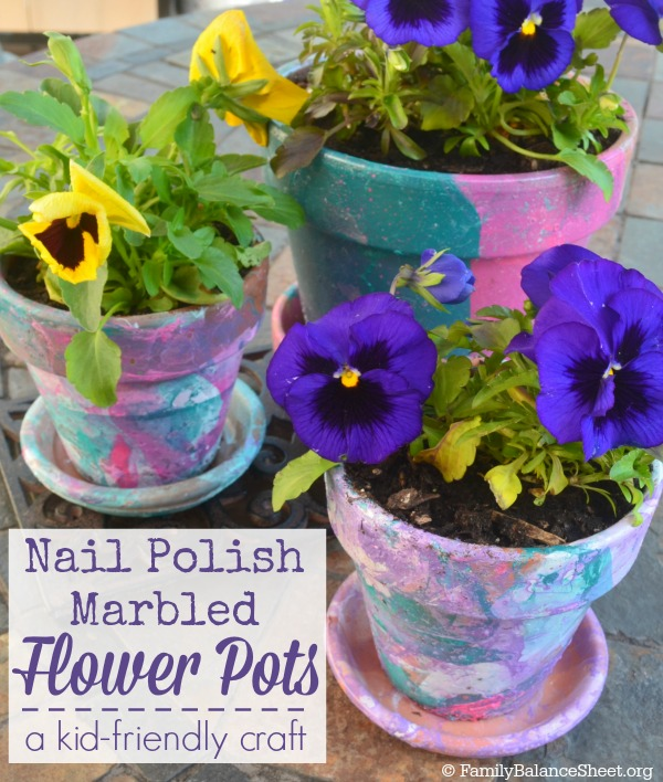 Nail-Polish-Marbled-Flower-Pots
