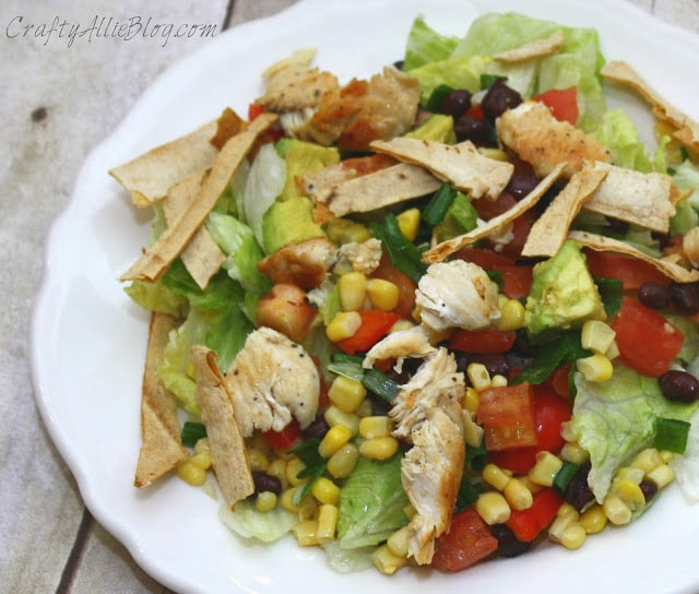 This southwest chicken salad is fresh and tasty.