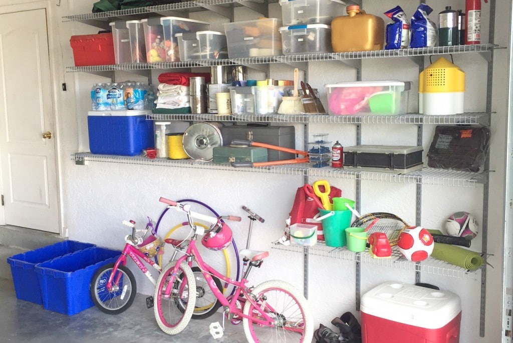 Organize all the items in your garage so everything is up and off the floor. Use bins to organize oddly shaped items.