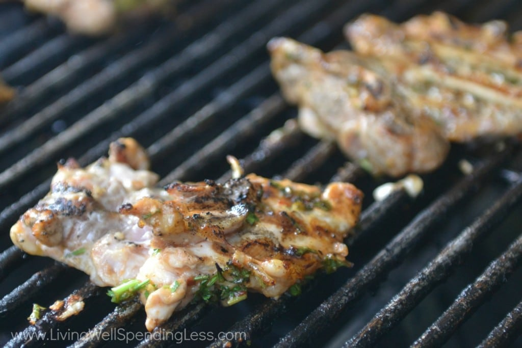Grill chicken for 5-7 minutes per side, until done