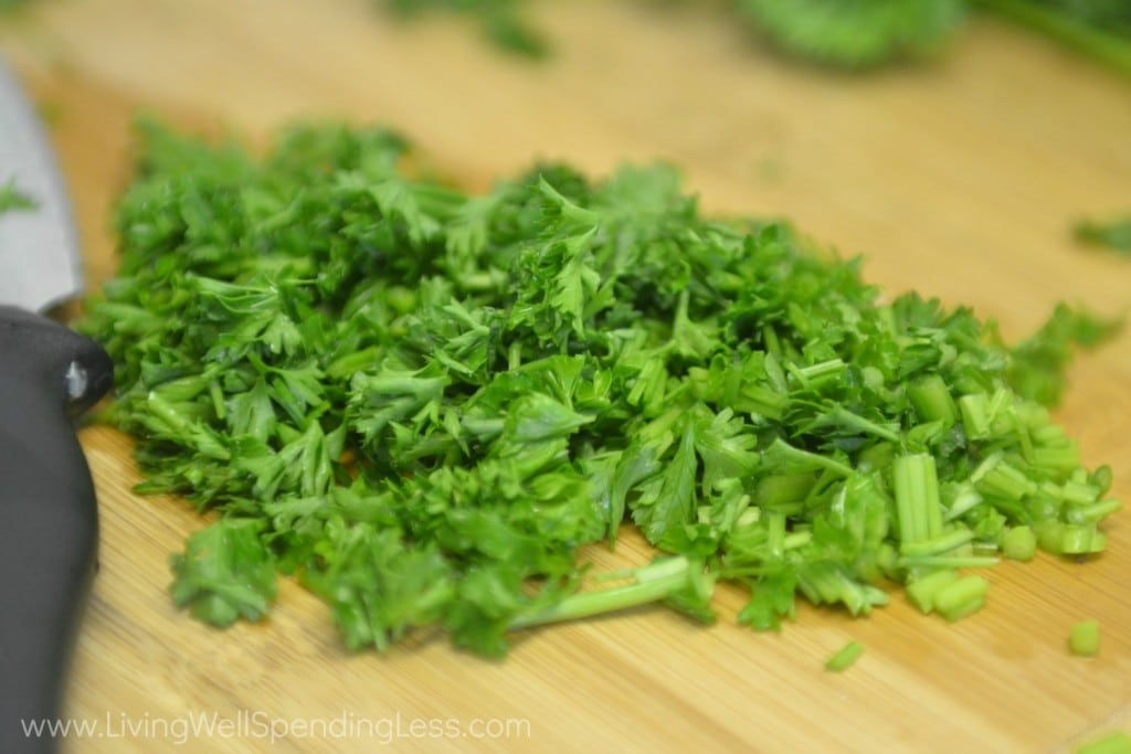 Chip fresh parsley for the chicken sandwich sauce