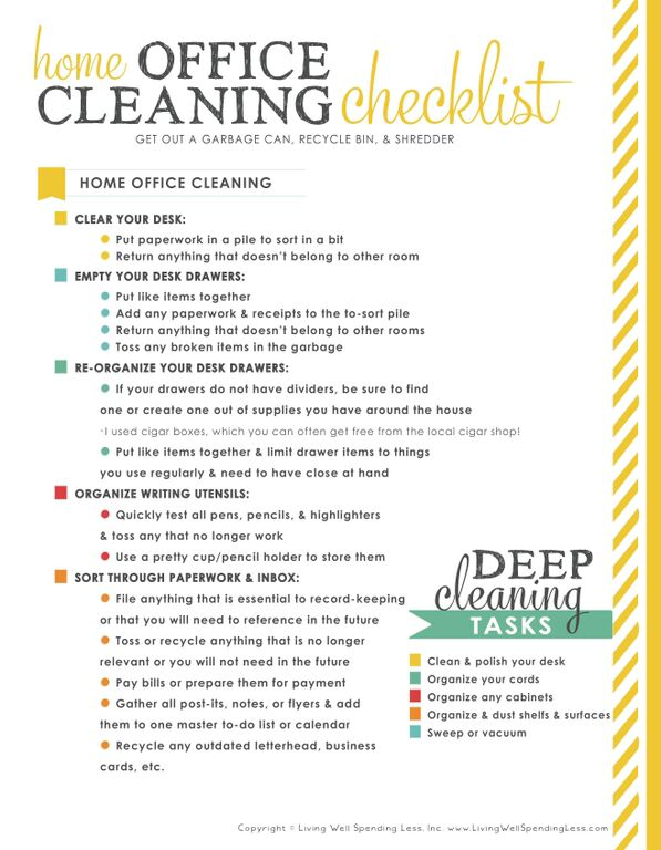 31 days of living well spending zero day 11 organize for Free office cleaning checklist templates