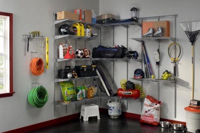 Shelves and hooks will help keep everything off the floor and create a home for every item in your garage.