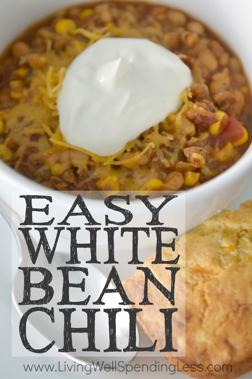 Ready for a flavor-packed meal you can set and forget?  This easy delicious white bean chili comes together in minutes, then freezes beautifully for an effortless crackpot meal that is ready when you are.  Easy White Bean Chili | 10 Meals in an Hour | Food Made Simple | Freezer Cooking | Freezer Meals | Meatless Meals | Soup Recipes