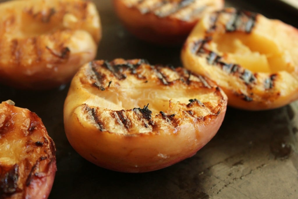 Slice your peaches in half and grill them.