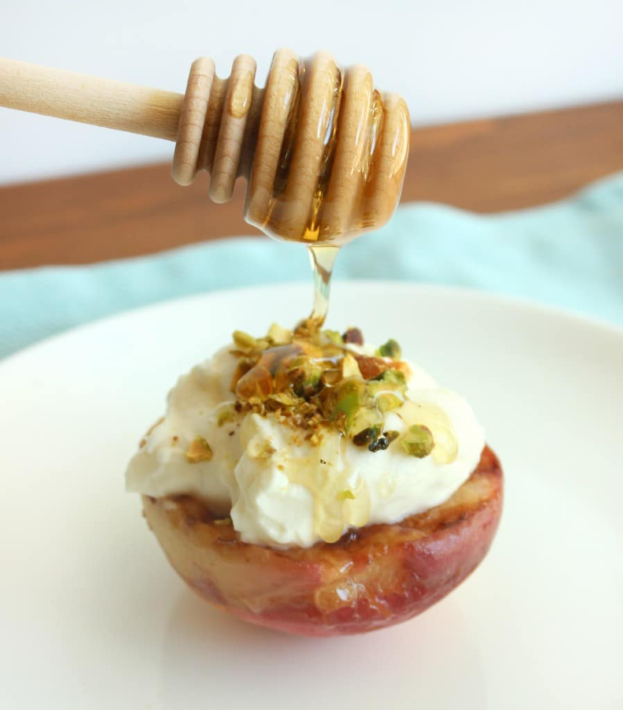 Drizzle honey over assembled peaches, serve, and enjoy.
