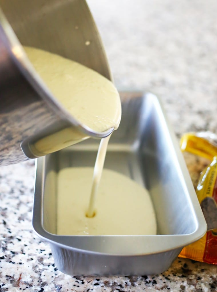 Pour cream mixture into a loaf pan or baking dish - something that is freezer friendly!