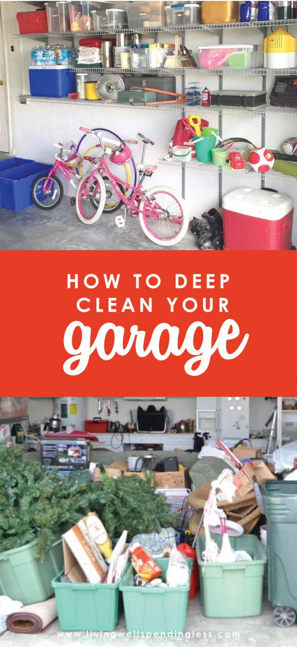 Ever feel like your garage has reached the point of no return?  We did too until one day we just couldn't it anymore!  Find out how we finally tamed the chaos in just six simple steps--and how you can too!    Deep Clean Your Garage | Cleaning & Decluttering Garage | Garage Cleaning | Deep Clean Dirty Garage | Spring-Cleaning Tips | Deep Clean Garage Checklist